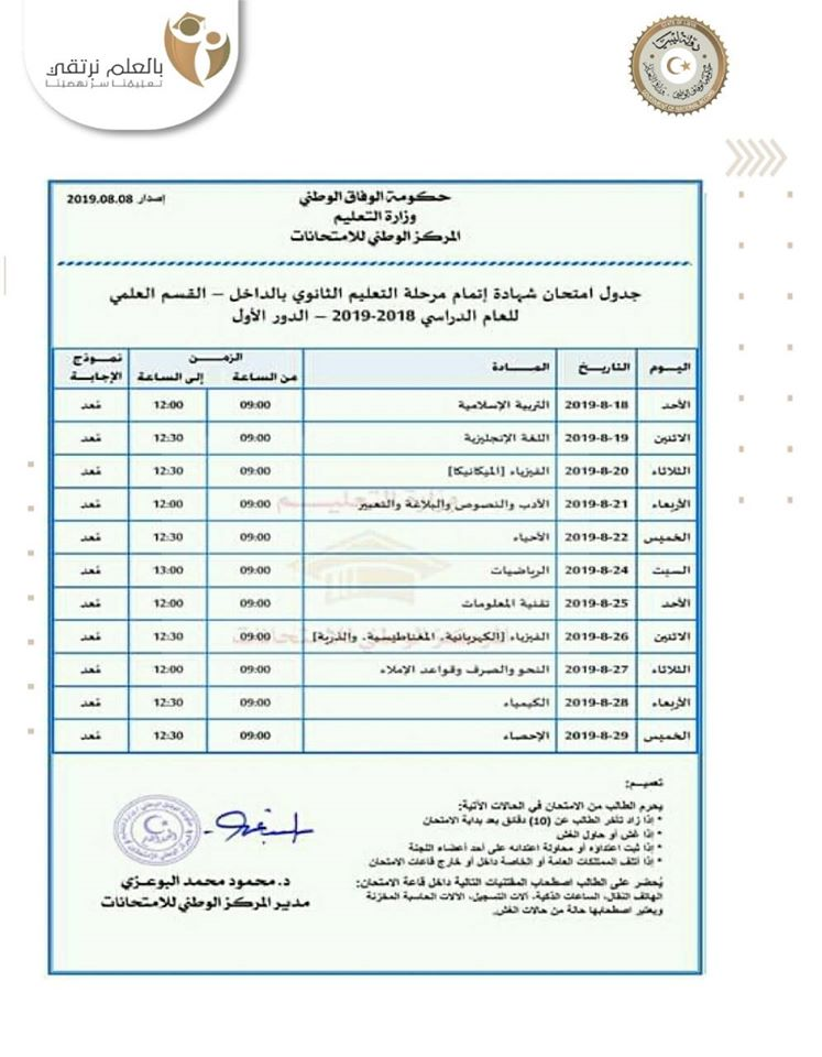 Sabratha University announces the schedule of secondary, scientific, literary and religious examinations
